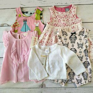 7Pc Dress Lot 3-6 mo Some NWT Gap Bebe Gymboree